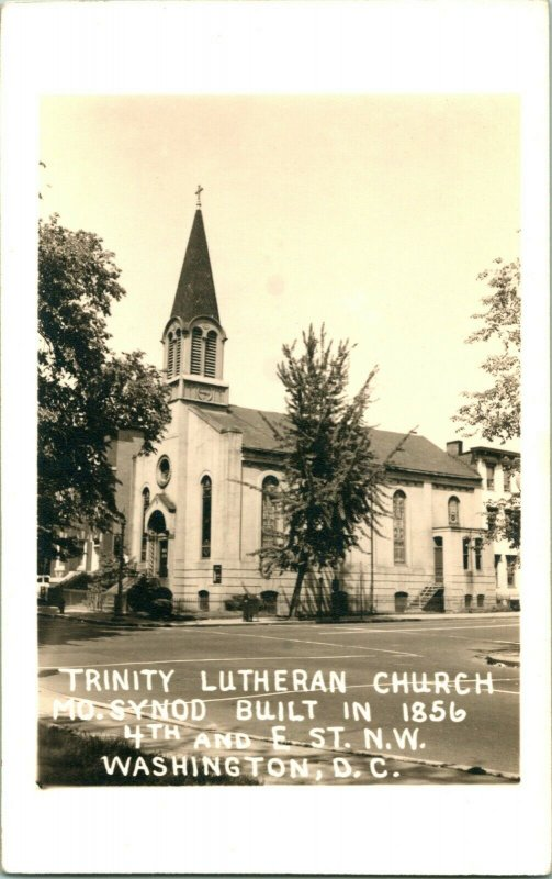 Vtg Postcard RPPC 1940s Trinity Lutheran Church 4th & E St. Washington DC UNP