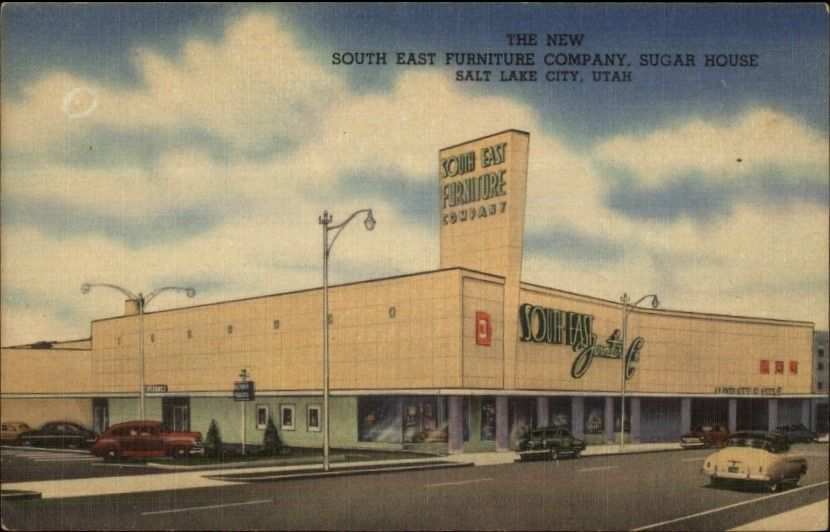 Salt Lake City Ut Southeast Furniture Co Sugar House Nice Linen Postcard Email Facebook Twitter Googleplus Listing