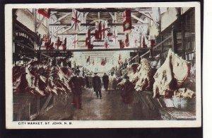 P1537 old unused postcard city market st john new brunswick canada