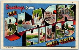 Vintage BLACK HILLS South Dakota Large Letter Postcard Curteich Linen - 1956