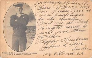 USS Tennessee Sailor James JG Stone Military Antique Postcard J78101