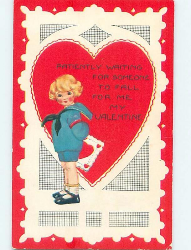 Pre-Linen FEMININE LOOKING BOY HOLDS VALENTINE CARD BEHIND BACK HL7007