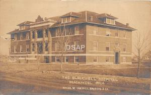 B2/ Blackwell Oklahoma Ok Real Photo RPPC Postcard '19 Hospital Building Briscoe