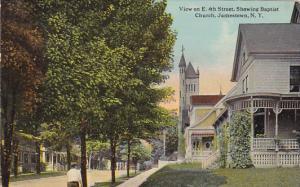 New York Jamestown East 4th Street Showing Baptist Church 1912