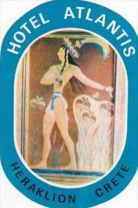GREECE CRETE HERAKLION HOTEL ATLANTIS VINTAGE LUGGAGE LABEL