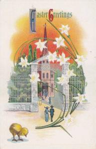 Easter Greetings, Church goers entering building, white flowers, chick, 10-20s