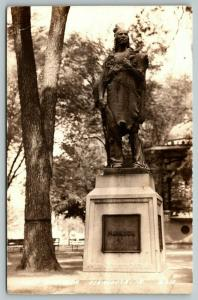 Oskaloosa Iowa~Indian Chief Mahaska Monument in Park~Band Stand~1945 RPPC