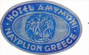 GREECE NAYPLION HOTEL AMYMONI VINTAGE LUGGAGE LABEL