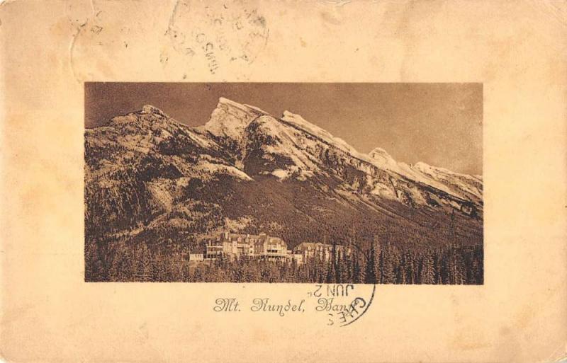Alberta Canada panoramic birds eye view Mount Rundel antique pc Z22505