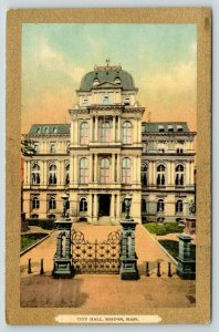 Boston Massachusetts~City Hall~Scrolling Iron Gate~c1910 Gold Border Postcard
