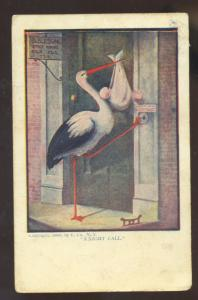 A NIGHT CALL STORK BABY VINTAGE COMIC POSTCARD LEAVENWORTH KANSAS