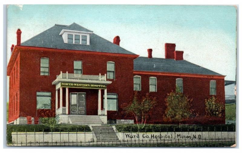 1910 Ward County/Northwestern Hospital, Minot, ND Postcard