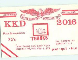 Pre-1980 RADIO CARD - CB HAM OR QSL Bogota New Jersey NJ AH2663