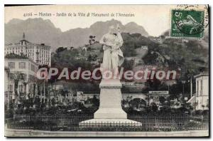 Old Postcard Menton Garden Of The City And annexation Monument