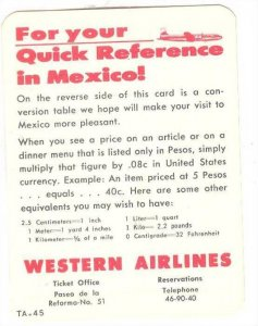 Reference Card, Western Airlines, Conversion Table dollars to pesos, 40-60s