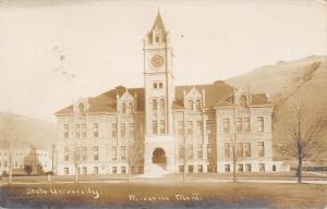 Missoula~Montana State University~Main Hall~Clock Tower~1909 Real Photo~RPPC