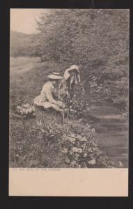 2 Young Ladies Picking Flowers By A Stream - Unused
