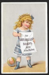 VICTORIAN TRADE CARD Lautz Soap Girl & Ball