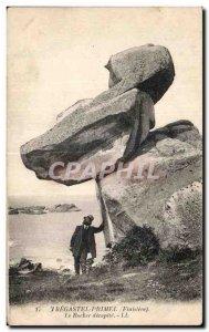 Old Postcard Primel Tregastel (Finistre) The Rock beheaded
