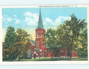W-Border CHURCH SCENE Oneonta New York NY G4206