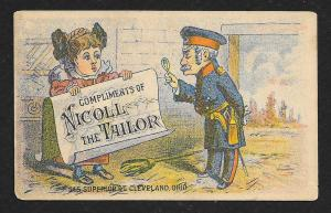 VICTORIAN TRADE CARD Nicoll The Tailor Clothiers