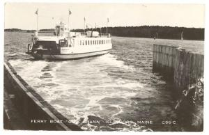 Islesboro ME Ferry Boat Gov. Brann  RPPC Real Photo Postcard