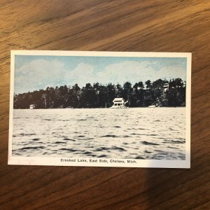 Chelsea Michigan~House on the Waves of Crooked Lake~East Side~1920s Postcard