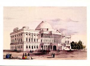 Nathaniel Currier (Repro) -  Capitol at Washington   (Size: 6.625 X 4.625)