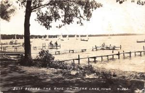 Clear Lake Iowa~Just Before the Race~Sailboats on Lake~1946 RPPC