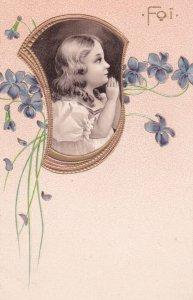 PFB#5701; Girl in White Praying, Flower Border, Foi 1900-10s