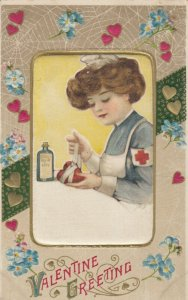 John Winsch 1900-10s ; VALENTINE ; Red Cross Nurse (silk)