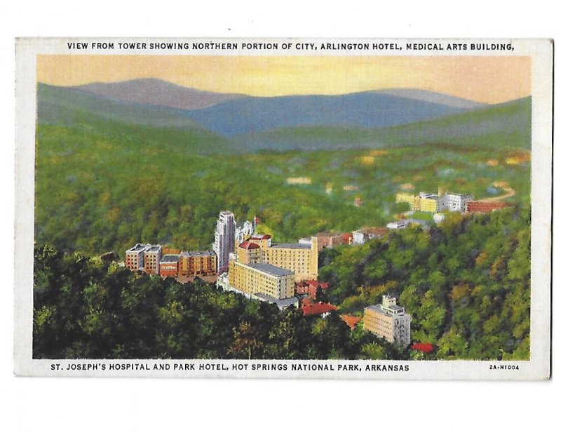 View from Tower Northern Portion of Hot Springs Arkansas & St. Joseph's Hospital