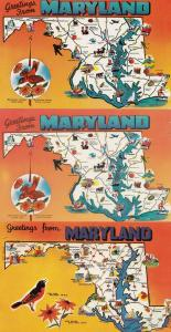 Maryland Greetings From 3x Map Postcard s