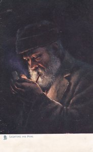 TUCK #1540; Lighting his Pipe , PU-1905 Firelight Effects