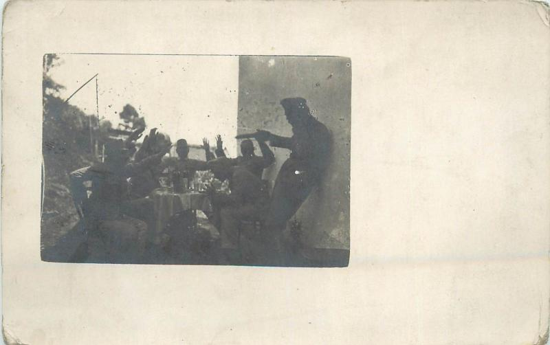 WORLD WAR ONE Real photo snapshot postcard 1914 military men soldiers