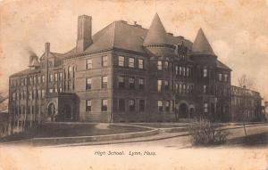 High School, Lynn, Massachusetts, early Postcard, Used in 1907