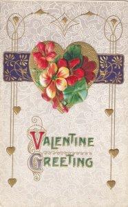 Vtg Carte Postale C 1910s Valentin de Vœux - Emboosed & Doré - non Utilisé