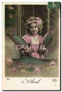 Old Postcard Fantasy Easter Fish Child