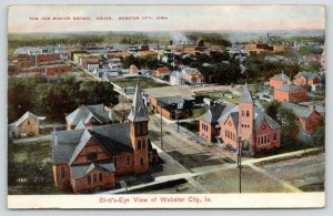 Webster City Iowa~Birdseye~Church Corners~Horse Barn~Buster Brown Drugs Pub~1908