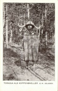 indonesia, CELEBES SULAWESI, Toraja Headhunter with Spear (1920s) Postcard