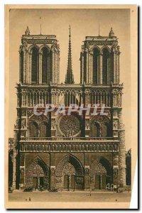 Old Postcard Notre Dame Paris The Facade