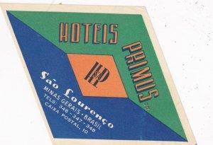 Brasil Minas Garais Sao Lourenco Hotel Primus Vintage Luggage Label sk4024