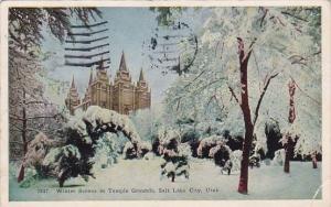 Utah Salt Lake City Winter Scenes In Temple Grounds 1926