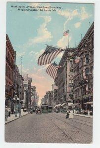 P2063 1914 postcard many usa flags trollies cars etc washington ave st louis mo