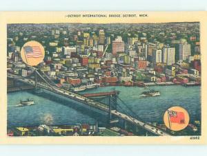 Unused Linen BRIDGE SCENE Detroit Michigan MI H8212