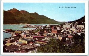 Juneau, Alaska Postcard Bird's-Eye View of City - HHT Linen c1930s Unused