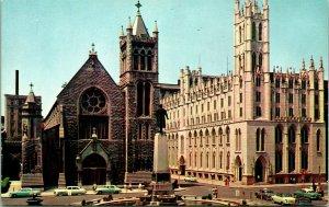 Vtg Postcard Syracuse New York NY - Columbus Circle Cathedral Statue UNP