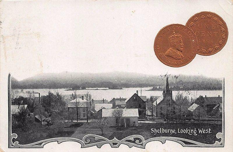 Shelburne Digby NS Looking West 1904 1 Cent Coin Postcard
