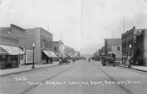 Bemidji Minnesota Third Street Looking East Real Photo Postcard JI658308