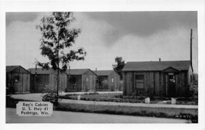Peshtigo Wisconsin~Ray's Cabins on US Highway 41~1940s Silvercraft Postcard